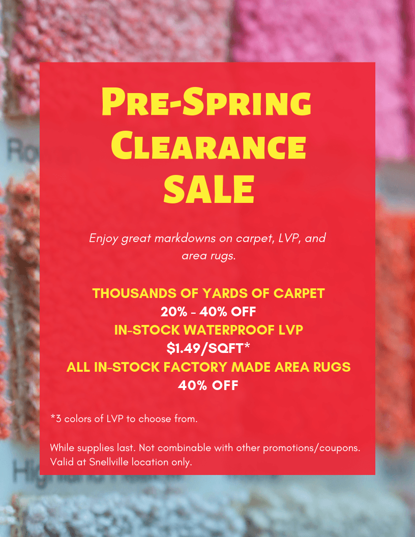 Pre Spring Clearance Sale Carpet Depot